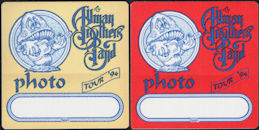 ##MUSICBP0676 - Pair of The Allman Brothers Band OTTO Cloth Backstage Passes from the 1994 Where It All Begins Tour