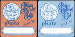 ##MUSICBP0266  - Pair of Allman Brothers Band Cloth OTTO Backstage Photo Passes from the 1994 Where It All Begins Tour