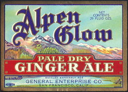 #ZLS222 - Alpen Glow Pale Dry Ginger Ale Soda Bottle Label