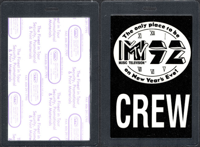 ##MUSICBP0119 - Laminated Backstage Pass for the MTV 92 New Years Eve Concert with Alice in Chains