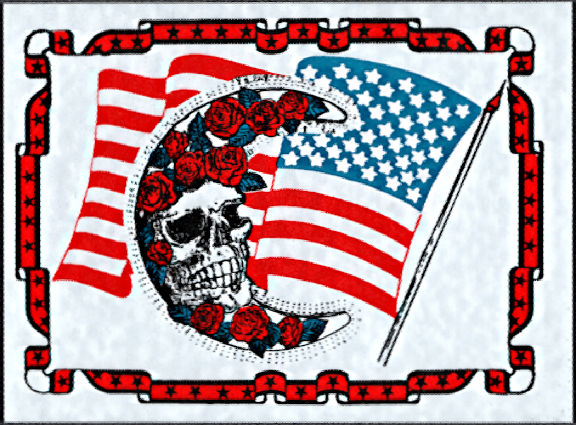 ##MUSICBP2011 - Large Grateful Dead Car Window Tour Sticker/Decal - Flag, Bertha, Moon, and Roses