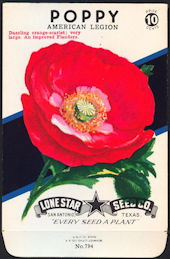 #CE025.1 - Group of 12 Brilliantly Colored American Legion Poppy Lone Star 10¢ Seed Pack
