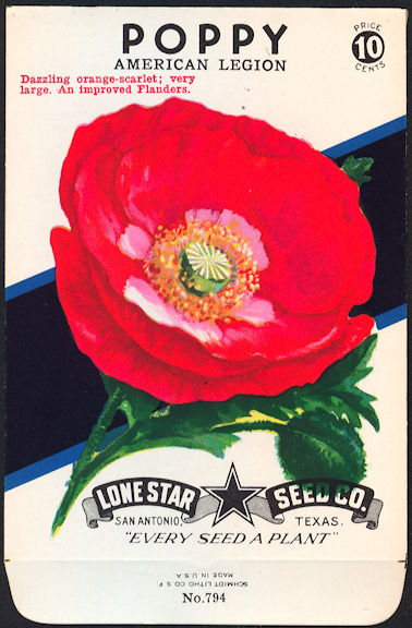 #CE025 - Brilliantly Colored American Legion Poppy Lone Star 10¢ Seed Pack - As Low As 50¢ each