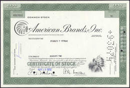 #ZZCE029 - Stock Certificate from American Brands, Inc.