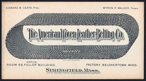 #ZZZ126 - 1870s Advertising Trade Card for the American Woven Leather Belting Co. - Milton Bradley
