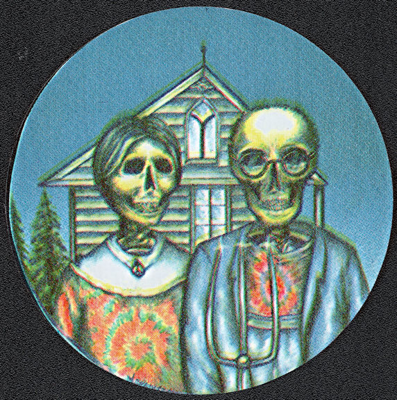 ##MUSICBP2018 - Grateful Dead Car Window Tour Sticker/Decal - Features American Gothic Characters with Skull Heads