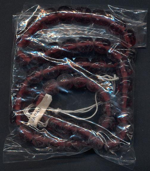 #BEADS0844 - Strand of 48 Cherry Brand 9-10mm Transparent Amethyst Baroque Glass Beads