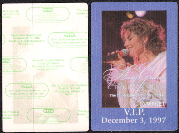 ##MUSICBP0520 - Amy Grant OTTO VIP Backstage Pass from her 1997 Christmas Concert in Nashville