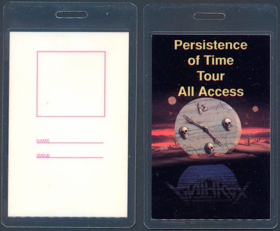 ##MUSICBP0496 - Anthrax  OTTO Laminated All Access Backstage Pass from the 1990 Persistence of Time Tour
