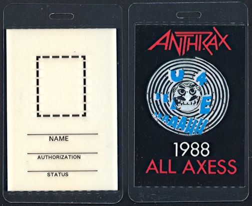 ##MUSICBP0343  - Anthrax Laminated OTTO Backstage pass from the Euphoria Tour