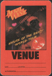##MUSICBP0118  - April Wine 1981 OTTO Cloth Venue Nature of the Beast World Tour Backstage Pass