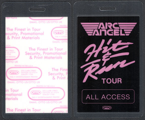 ##MUSICBP0733 - Arc Angel OTTO Laminated Backstage Pass from the 1992 Hit & Run Tour