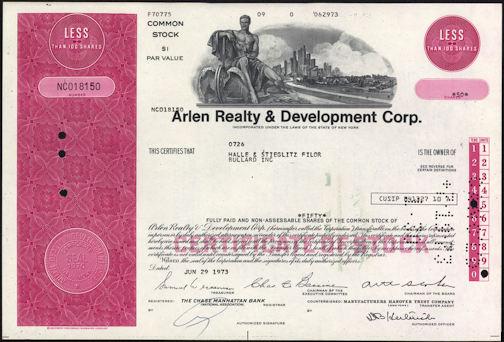 #ZZCE060 - Arlen Realty & Development Corp. Stock Certificate