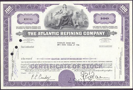 #ZZCE033 - Stock Certificate from The Atlantic Refining Company (Atlantic Richfield)