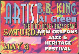 ##MUSICBP0902 - B. B. King and Al Green OTTO Cloth Backstage Pass from the 1995 Jazz Festival