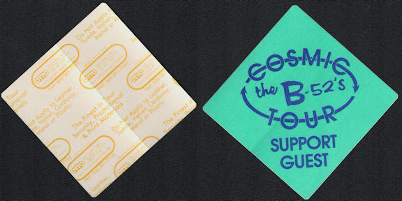 ##MUSICBP0678 - The B-52's OTTO Cloth Backstage Support/Guest Pass from the 1989 Cosmic Tour