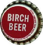 #BC033 - Group of 10 Maroon and Silver Cork Lined Birch Beer Soda Caps