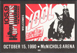 ##MUSICBP0873 - Billy Idol OTTO Cloth Backstage Radio Promo Pass from the 1990 Charmed Life Tour