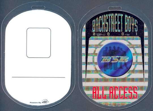 ##MUSICBP0066  - BackStreet Boys All Access Laminated Perri Backstage Pass from the Black & Blue World Tour
