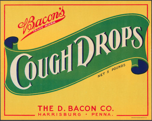 #ZBOT414 - Large Bacon's Cough Drops Crate Label  - As low as 75¢ each