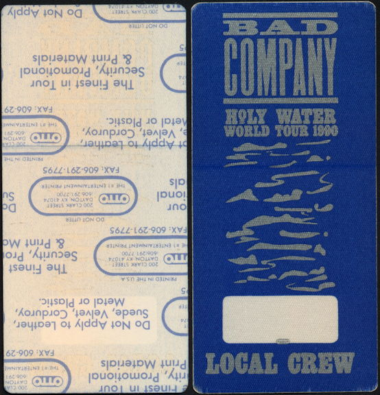 ##MUSICBP0441  - 1990 Bad Company Holy Water Tour OTTO Backstage Pass