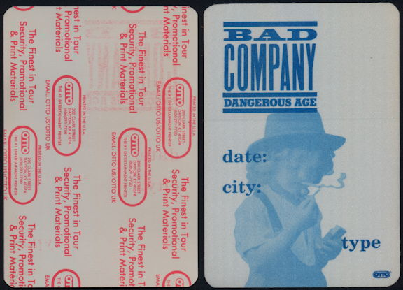 ##MUSICBP0505 - Scarce Bad Company OTTO Cloth Backstage Pass from the Dangerous Age Tour