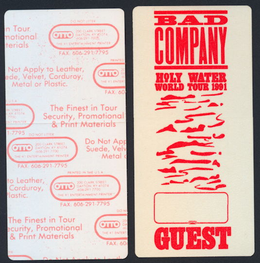 ##MUSICBP0178 - Super Rare Glow in the Dark Bad Company OTTO Guest Cloth Backstage Pass from the 1991 Holy Water World Tour