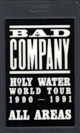 ##MUSICBP0685 - Bad Company OTTO Laminated All Areas Backstage Pass from the 1990/91 Holy Water World Tour
