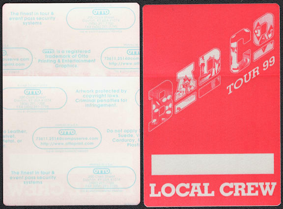 ##MUSICBP0675 - Bad Company OTTO Cloth Backstage Local Crew Pass from the 1999 Reunion Tour