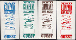 ##MUSICBP0441  - Group of 4 DIfferent Colored 1991 Bad Company Holy Water Tour OTTO Backstage Guest Passes