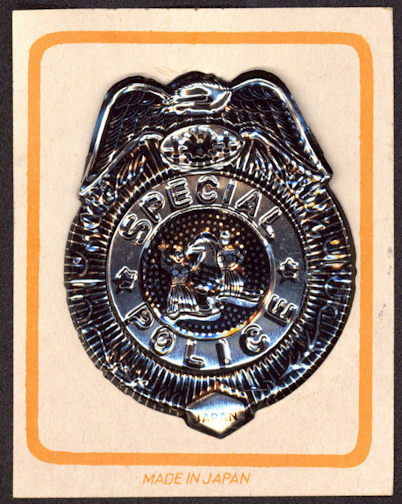 #TY591 - Carded Tin Special Police Badge on White Card - Made in Japan