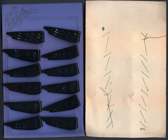 #CS359 - Full Display Card of Fancy Larger Deco Dress Clips from the 1920s