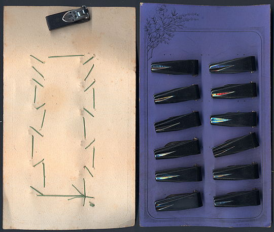 #CS357 - Full Display Card of Deco Dress Clips from the 1920s