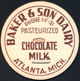 #DC200 - Baker & Son Dairy Milk Bottle Cap