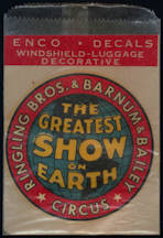 #TY782 - 1950s Enco Barnum and Bailey Decal in Original Glassine Envelope