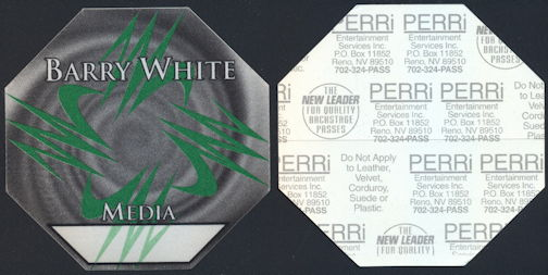 ##MUSICBP0303 - Scarce Barry White PERRi Cloth Media Backstage Pass from the 1994 Icon Tour