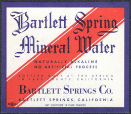 #ZLS246 - Bartlett Spring Mineral Water Bottle Label - Bartlett Spring, CA