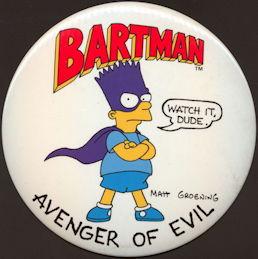 #CH393 -  Huge Oversize Bartman (Simpsons) Avenger of Evil Pinback Easel