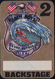##MUSICBP0385 - Beach Boys Fasson Cloth Backstage Pass from the 1984 Surf Patrol Tour