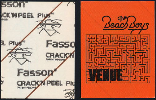 ##MUSICBP0364 - The Beach Boys Cloth Venue Backstage Pass from the 1987 Tour
