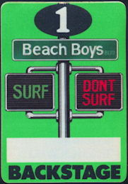 ##MUSICBP0372 - Beach Boys Fasson Cloth Backstage Pass from the 1991 Surf Don't Surf Tour - Charles Manson