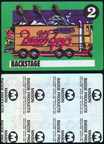 ##MUSICBP0402 - Beach Boys Cloth Backstage Pass from the 1989 Beachago Tour