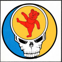##MUSICBP2031 - Grateful Dead Car Window Tour Sticker/Decal - Orange Bear and Steal Your Face Skull