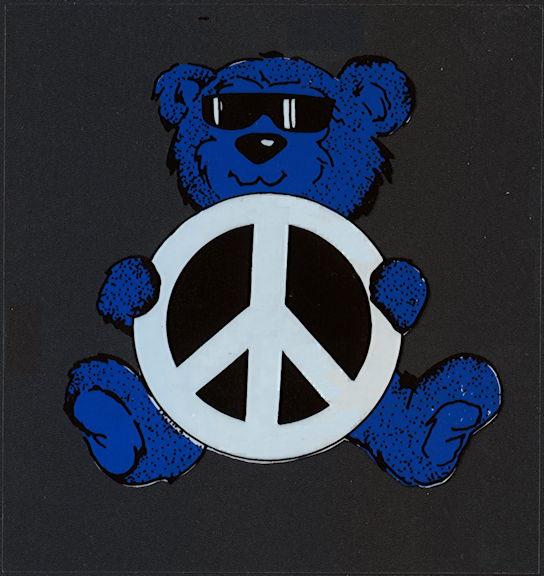##MUSICBP2006 - Grateful Dead Car Window Tour Sticker/Decal - Grateful Dead Bear Holding Peace Sign - Blue Version