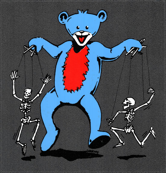 ##MUSICBP2036 - Grateful Dead Car Window Tour Sticker/Decal - Grateful Dead Bear with Skeleton Puppets on Strings