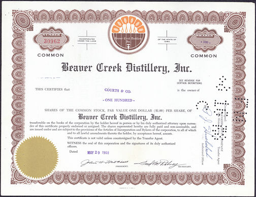 #ZZCE028 - Stock Certificate from the Beaver Creek Distillery, Inc.