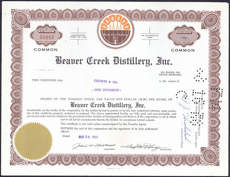 #ZZCE028 - Stock Certificate from the Beaver Creek Distillery, Inc.