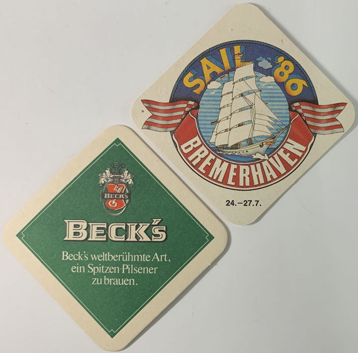 #SP083 - Beck's Beer Coaster - Brewerhaven Festival of Windjammers 1986