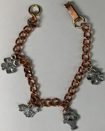 #BEADS0898 - Copper Charm Bracelet with Metal Bumblebee, and Basket, and Flower Charms