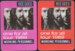 ##MUSICBP0112 - Pair of Different Colored Bee Gees OTTO Cloth Working Personnel Backstage Passes from the 1989 One for All Tour